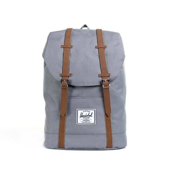 grey/tan synthetic leather - Herschel Retreat Backpack