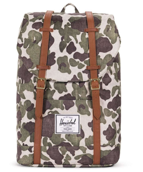 frog camo/tan synthetic leather - Herschel Retreat Backpack