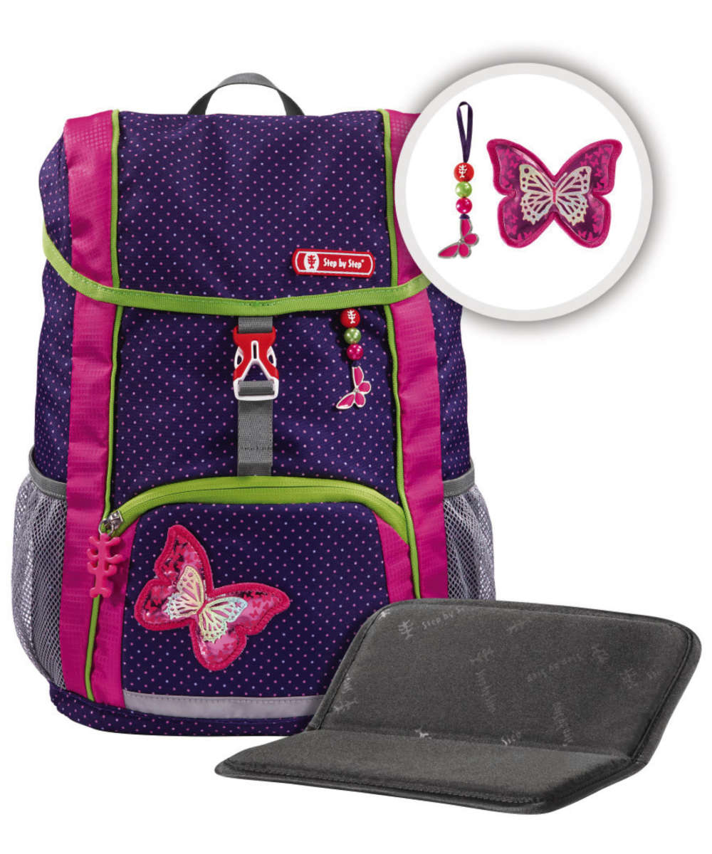Step by Step Kid Rucksack-Set 3-teilig shiny butterfly