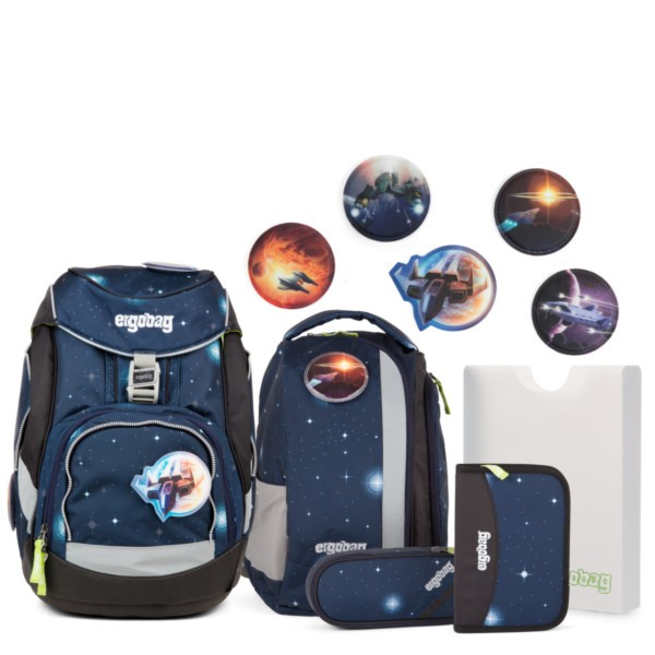 KoBärnikus Glow (blaue Galaxie Glow) - ergobag Pack-Set (6-tlg.) Galaxy Glow Edition