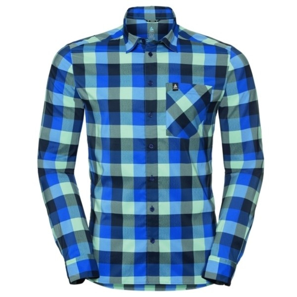 energy blue - diving navy - nile blue - check - Odlo Men Shirt L/S Nikko Check