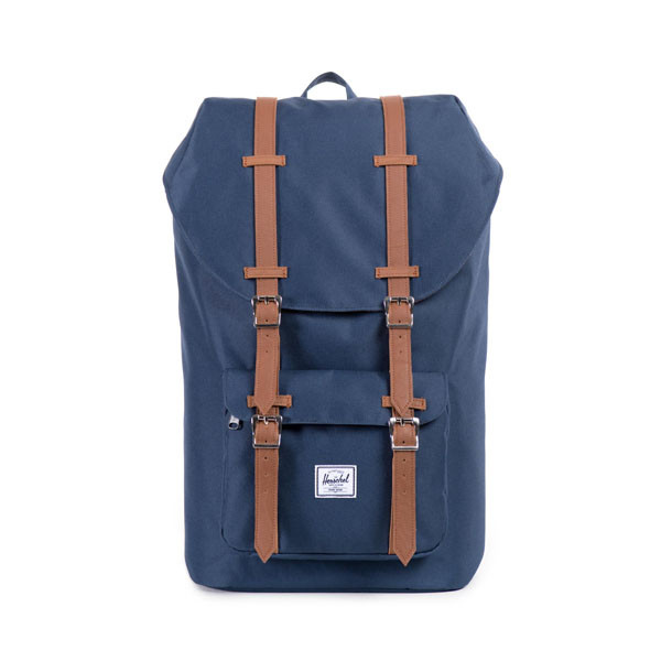 navy/tan synthetic leather