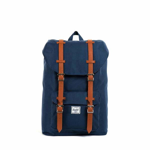 navy/tan synthetic leather - Herschel Little America Mid-Volume Backpack