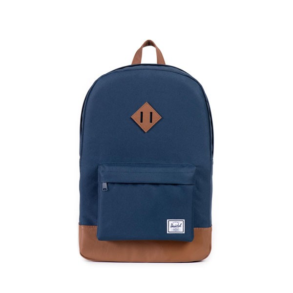 navy/tan synthetic leather - Herschel Heritage Backpack