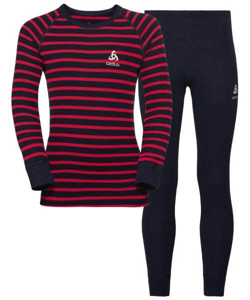 diving navy - hibiscus - stripes - Odlo Set Active Originals Warm Kids