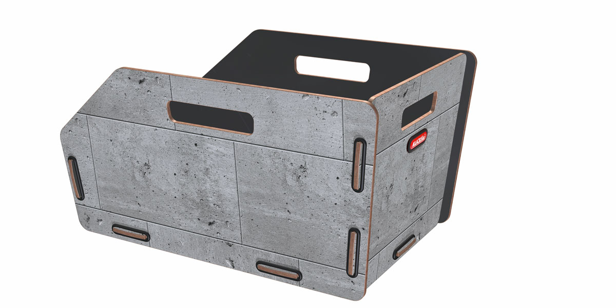 KLICKfix Radkiste 1 für Gepäckträger, GTA beton