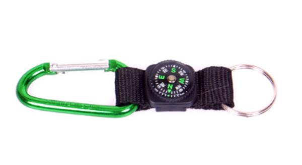 Coghlans Karabiner m. Kompass und Schlüsselring farblich sortiert
