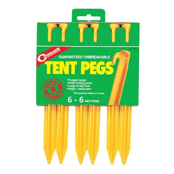 - Coghlans Zelthering ABS 15cm, gelb, 6er Pack