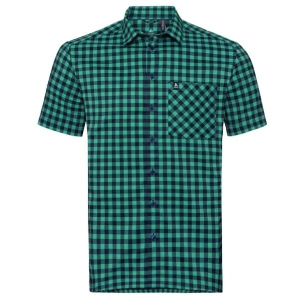 energy blue - diving navy - nile blue - check - Odlo Men Shirt S/S Nikko Check
