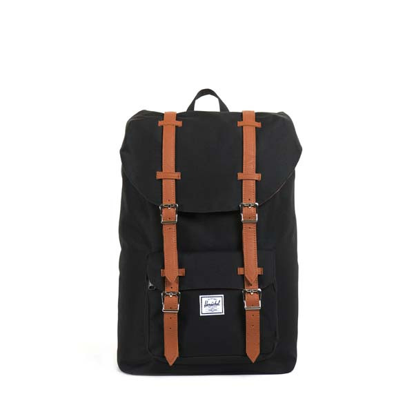 black/tan synthetic leather - Herschel Little America Mid-Volume Backpack