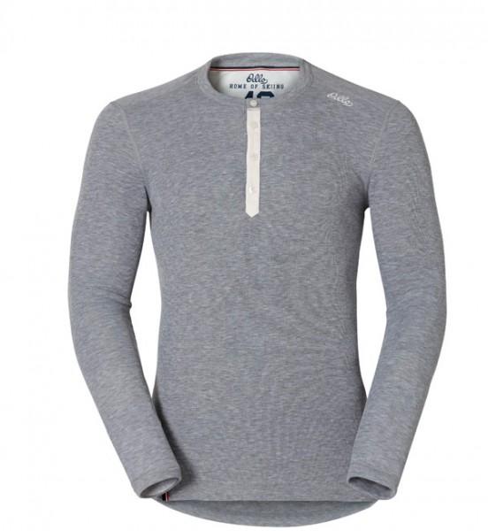 grey melange - Odlo Men Shirt L/S Crew Neck Vallée Blanche Warm