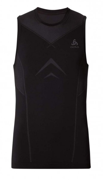 black - odlo graphite grey - Odlo Men Singlet Crew Neck Evolution Light