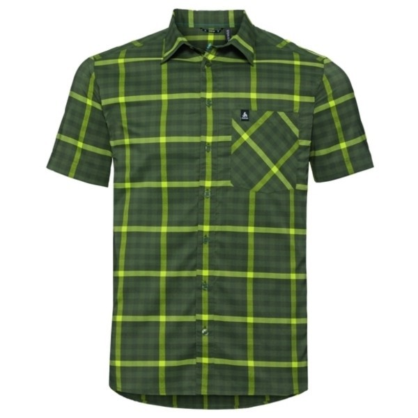 four leaf clover - acid lime - climbing ivy - chec - Odlo Men Shirt S/S Nikko Check