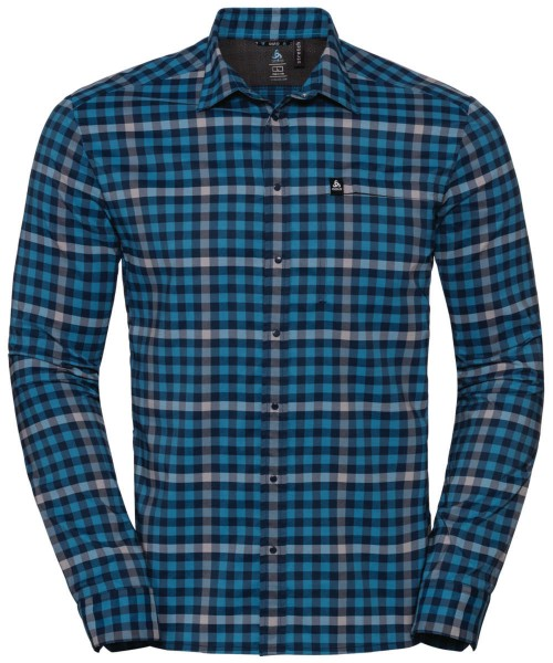 blue jewel - odlo concrete grey - poseidon - check - Odlo Men Shirt L/S Fairview